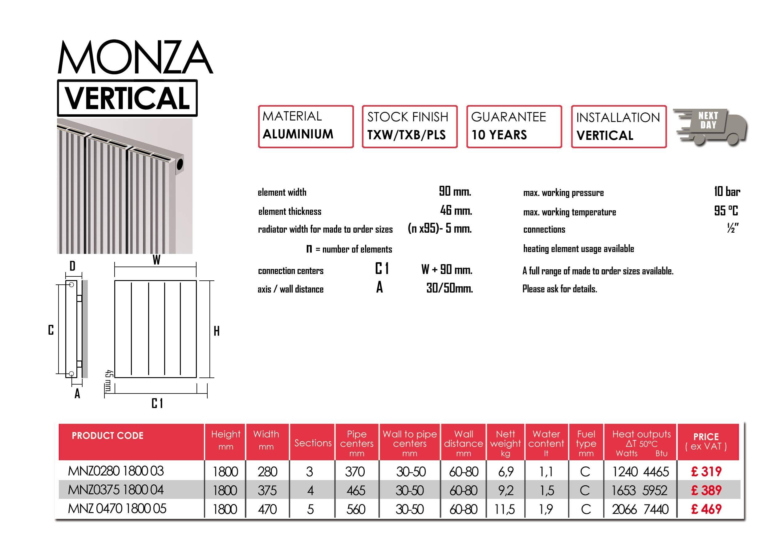 MONZA vertical | Carisa | Aluminium Designer Radiators